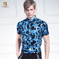 Free Shipping New man's men 2015 fashion casual male summer Court flower geometric Print Shirt Short Sleeved DP 612075 FanZhuan