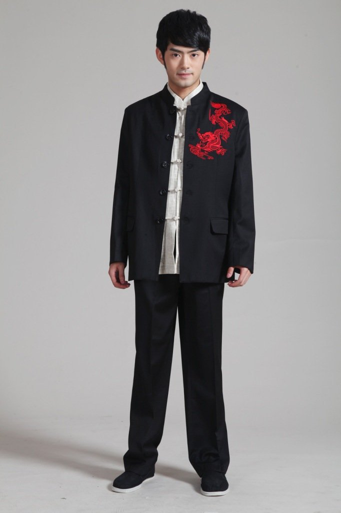 Black Chinese Handmade Men s Cotton Embroider Jacket Kung Fu Trousers Suit Free Shipping M L