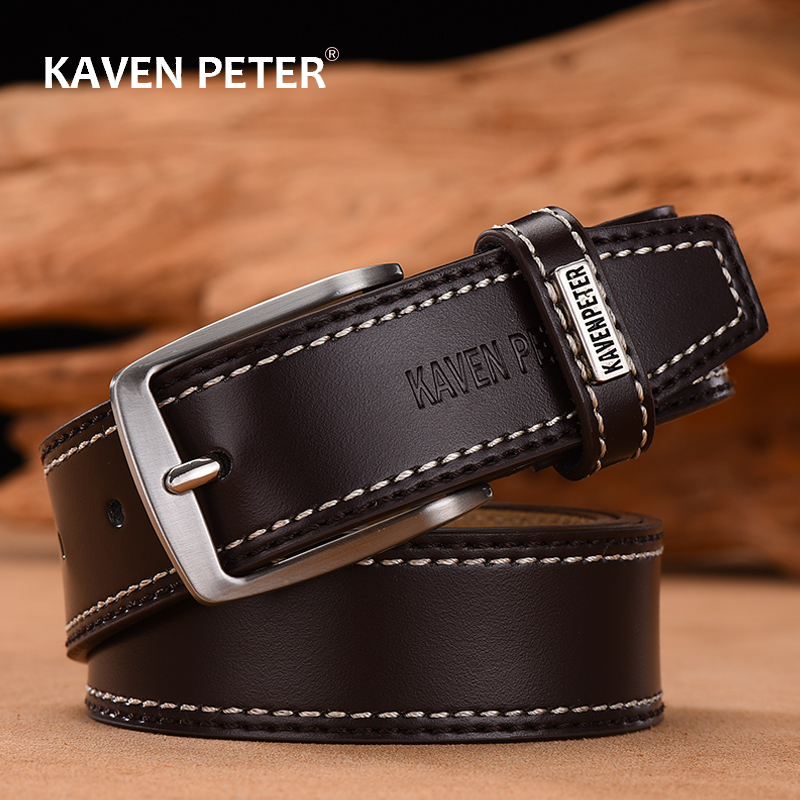 Men's Leather High Quality Classic Belt Alloy Pin Buckle Men's Matching Jeans Business Cowhide Belt Black Color Dark Brown Color