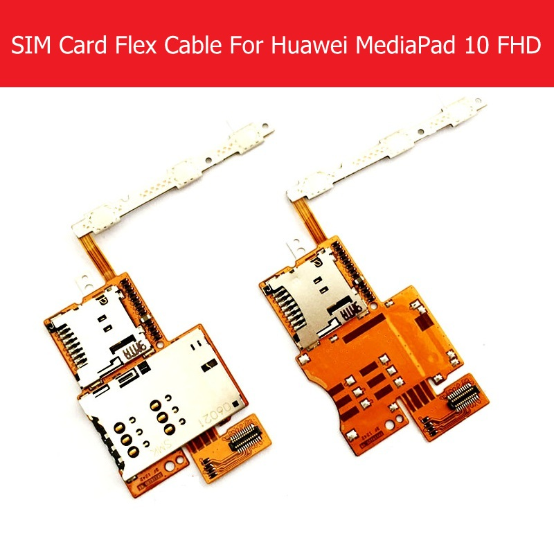 Dual & Single Sim Card Flex Cable For Huawei MediaPad 10 FHD S10-101 Power & Volume & Memory Card Reader Slot Flex Replacement
