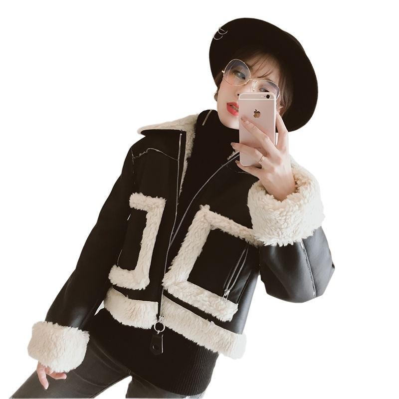 Faux Lambs Wool PU Leather Jacket Women New Short Parka Winter Coat Women Chaqueta Mujer Fashion Bomber Jacket Cotton Coat C3693 johnny lambs повседневные брюки