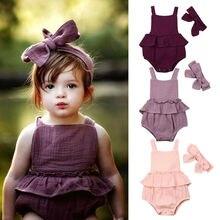 Новая одежда для маленьких девочек однотонный комбинезон из 2 предметов пляжный костюм летняя одежда