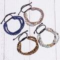 Wholesale Multilayer Bracelets 3pcs Mix Natural Stone Macrame Bracelet 6MM Beads Onyx Ball Hematite Bead Bracelets Men Pulseiras