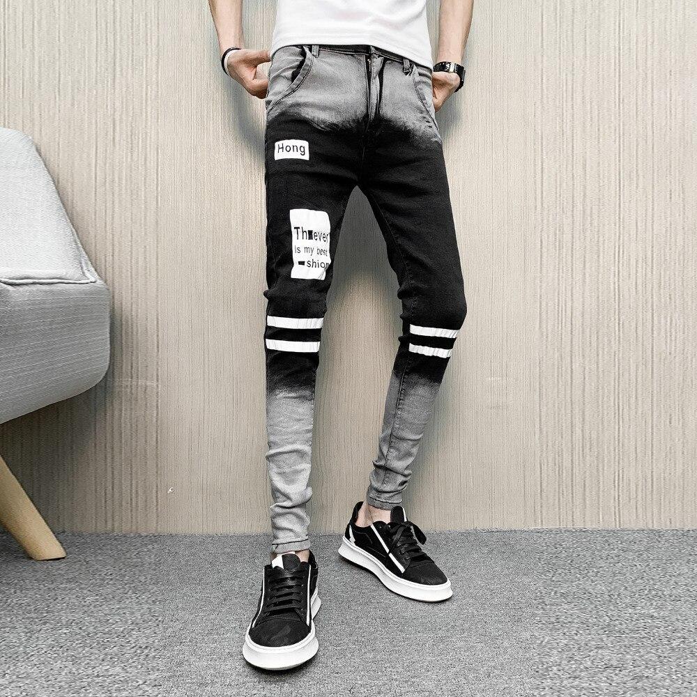Hot Sale Jeans Men Fashion 2020 Spring All Match Striped Mens Jeans Slim Fit Casual Streetwear Denim Pants Men Clothes 34-28
