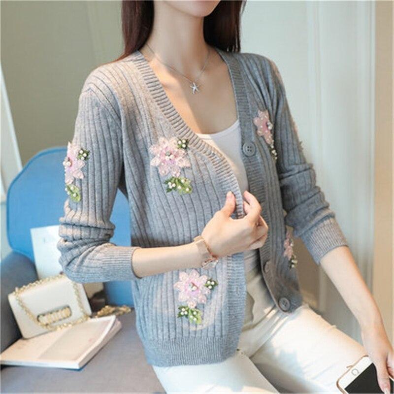Knitted Cardigan Embroidered Sweater Basic-Jacket Coat Women Girls Korean Sweet Autumn