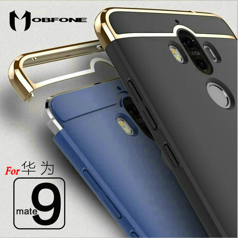 Mobfone Back Cover for Huawei Mate 9 3 in 1 Plating Fashion Plastic PC Ultra Thin Slim Matte Phone Cases Fundas Coque Capas