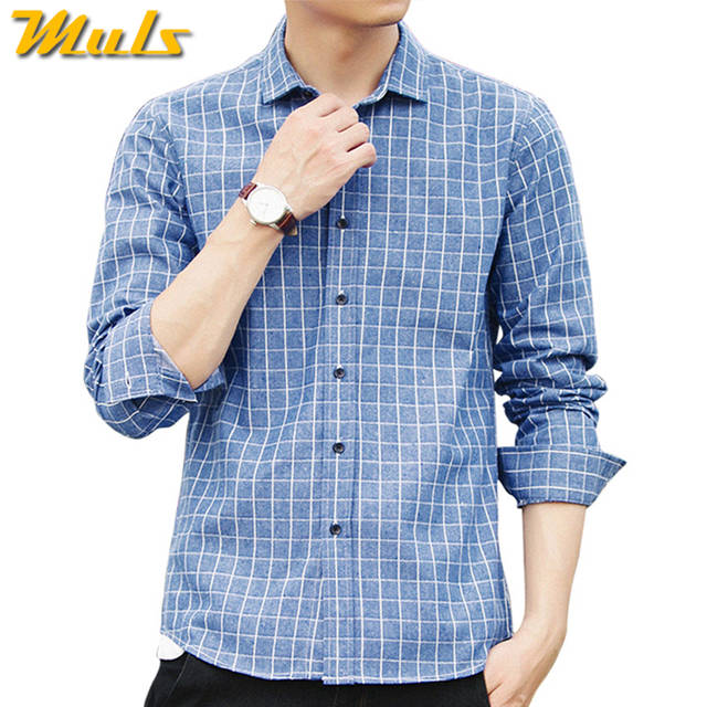 f330c939eb 4Colors Plaid shirts men long sleeve casula 2017 autumn spring new cotton male  shirts plus size