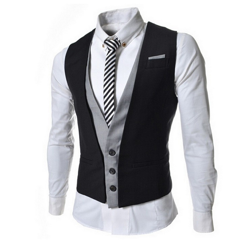 Black New 2014 Fashion Design Men Slim Patshwork Color