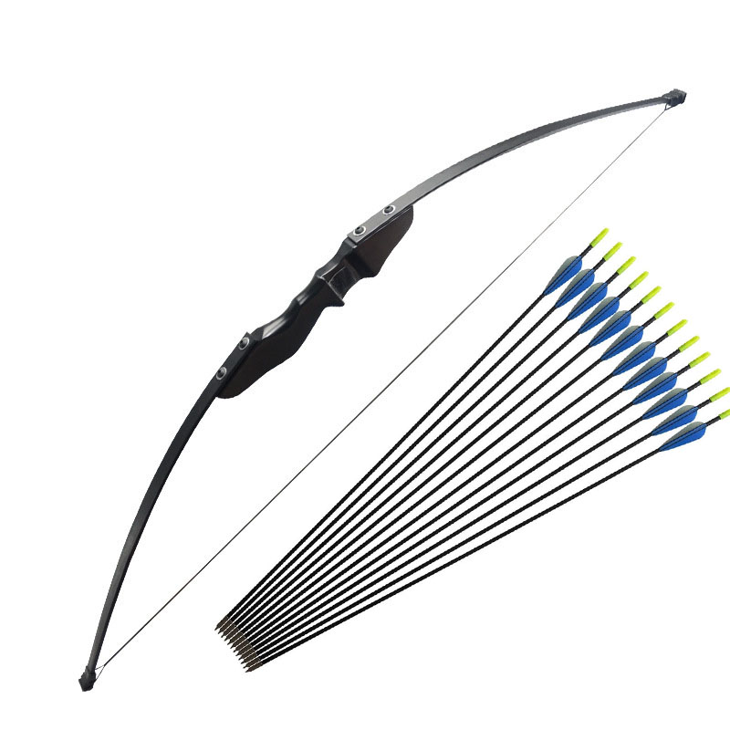 40lbs Wooden Recurve Bow With 6pcs Arrows For Right-hander Archery Bow Outdoor Beginner Shooting Hunting Accessories Darts