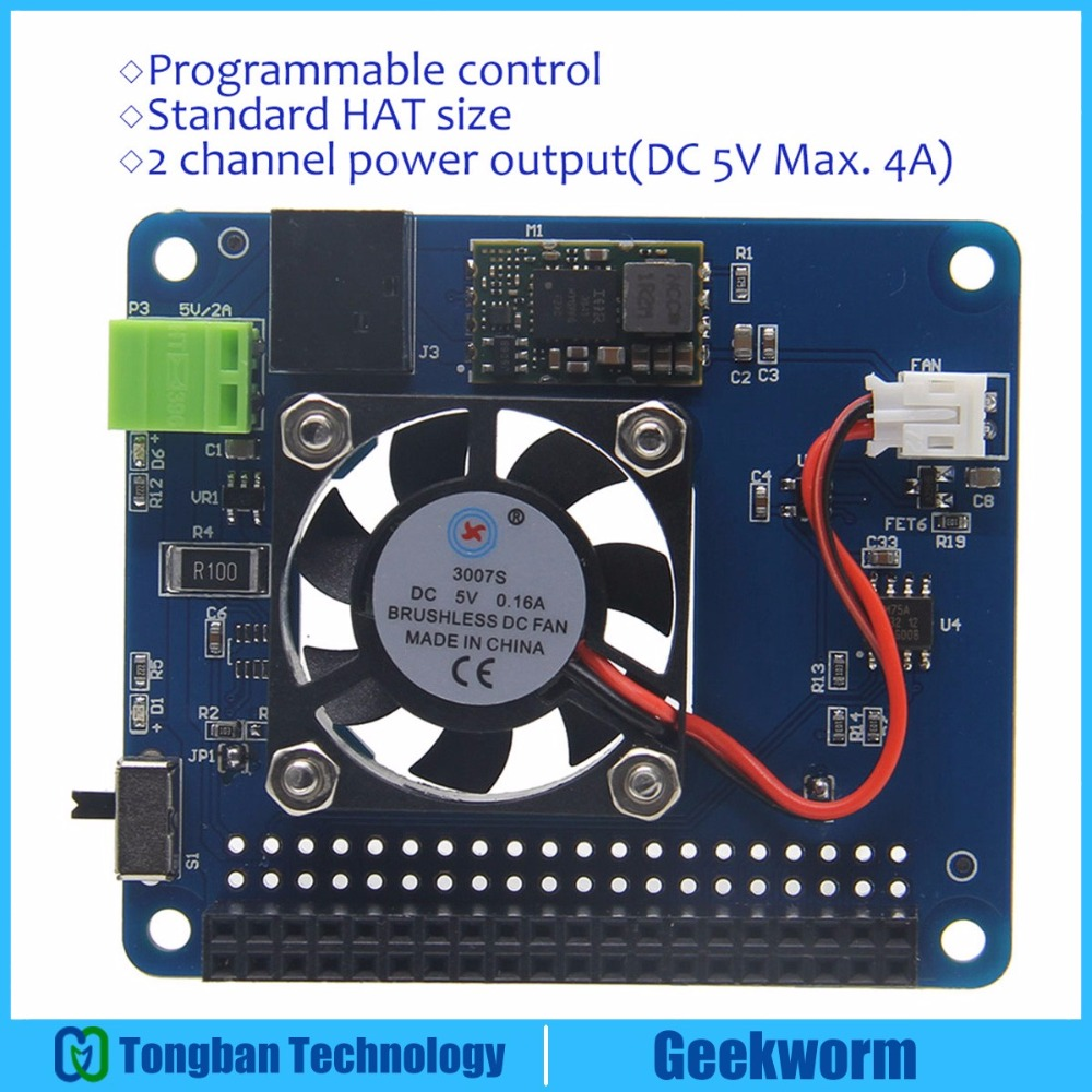 Raspberry Pi 3 Model B+(Plus)/3B Programmable Smart Temperature Control Fan+Power  Hat Board | input 6V~14V | DC 5V Max. 4A Out-in Demo Board from Computer ...