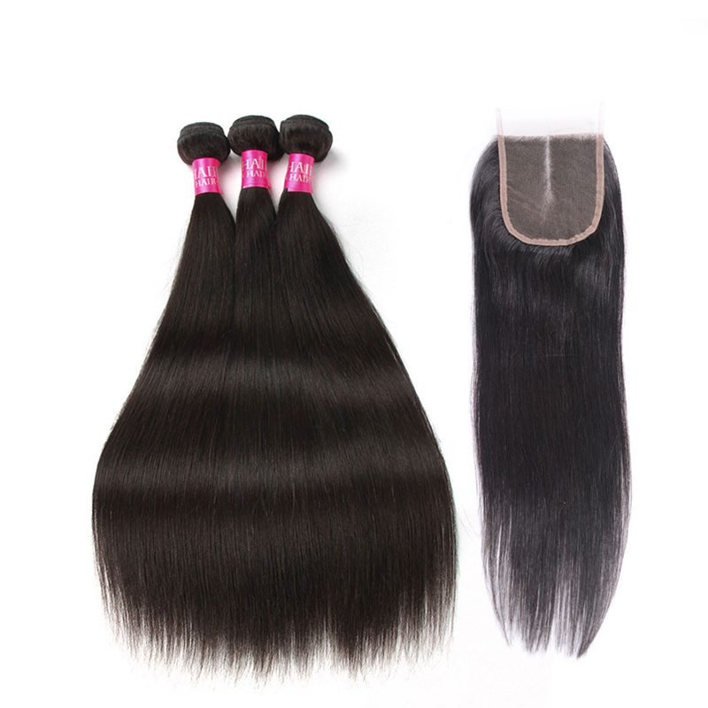 Beauty Grace Straight Peruvian Hair Bundles With Closure 4 * 4 - Mänskligt hår (svart)