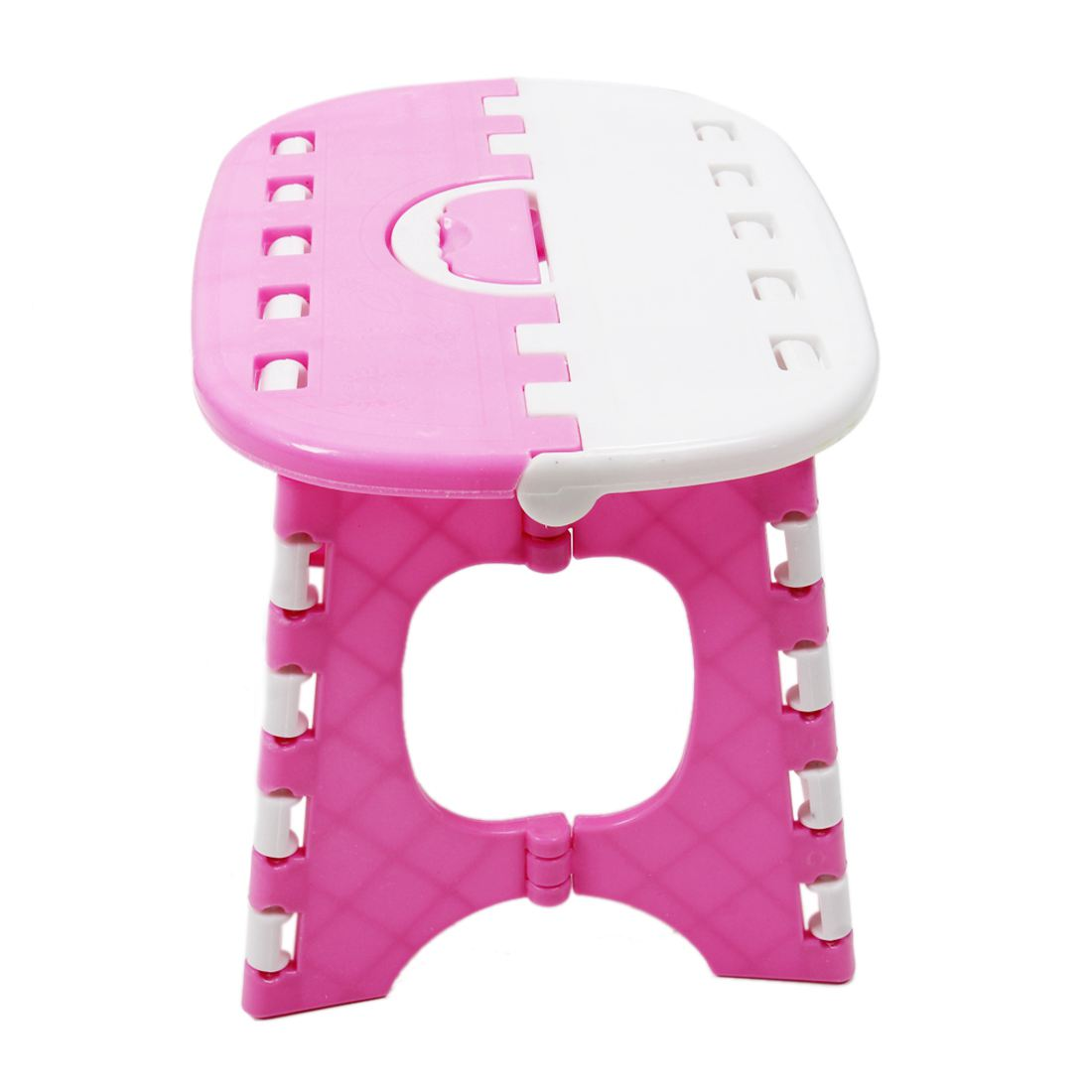 Plastic Folding 6 Type Thicken Step Foldable Portable Child Stools Outdoor Fishing Desk 24.5*19*17.5cm(Pink)