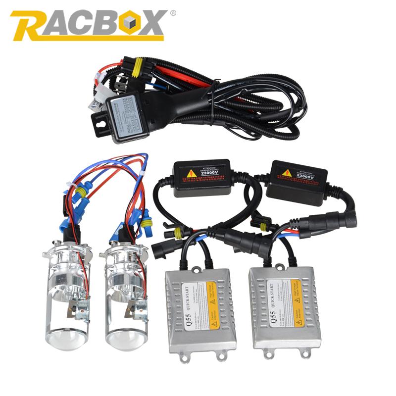 Prix pour 55 W H4 de Démarrage Rapide LHD HID Bi Xenon Kit de Conversion sans perte Ampoule Lampe Salut/Lo Haut/Bas Phare Mini-Objectif Du Projecteur 4300 K 6000 K