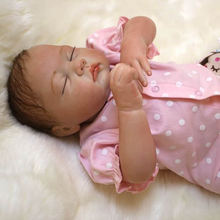 Sleeping Reborn Baby Dolls 20 Inch Real Lifelike Newborn Babies Girl Dolls Realistic Toy With Mohair Kids Birthday Xmas Gift