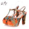 DRFARGO Новый Лодыжки Ремень Летняя Обувь Женщина 14 см туфли на Высоком каблуке 4 см Платформа Сандалии Мода Свадебные Девушки Насосы большой Размер Zapatalis