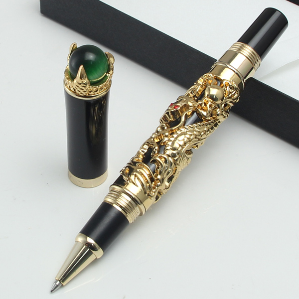 Grey/ For Choice Office Business Best Gift Expressive Jinhao Golden Dragon King Play Pearl 0.7mm Nib Rollerball Pen Black White