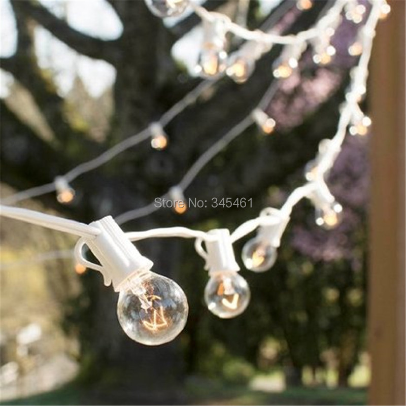 ФОТО  G30 Glass Globe String Lights Xmas Decor Garlands 25Ft 25 Bulbs White Durable Cable C7 E12 Clear Fairy Light