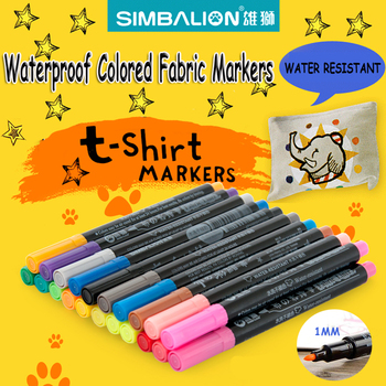 simbalion Fabric markers for clothes 1mm fine piont nib Textile marker waterproof phosphorescent paint alcohol draw liners comic african elephant