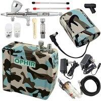 OPHIR PRO Аэрограф Комплект с воздушный компрессор и Батарея двойного действия Аэрограф пистолет для модели хобби Nail Art Макияж краска для тела