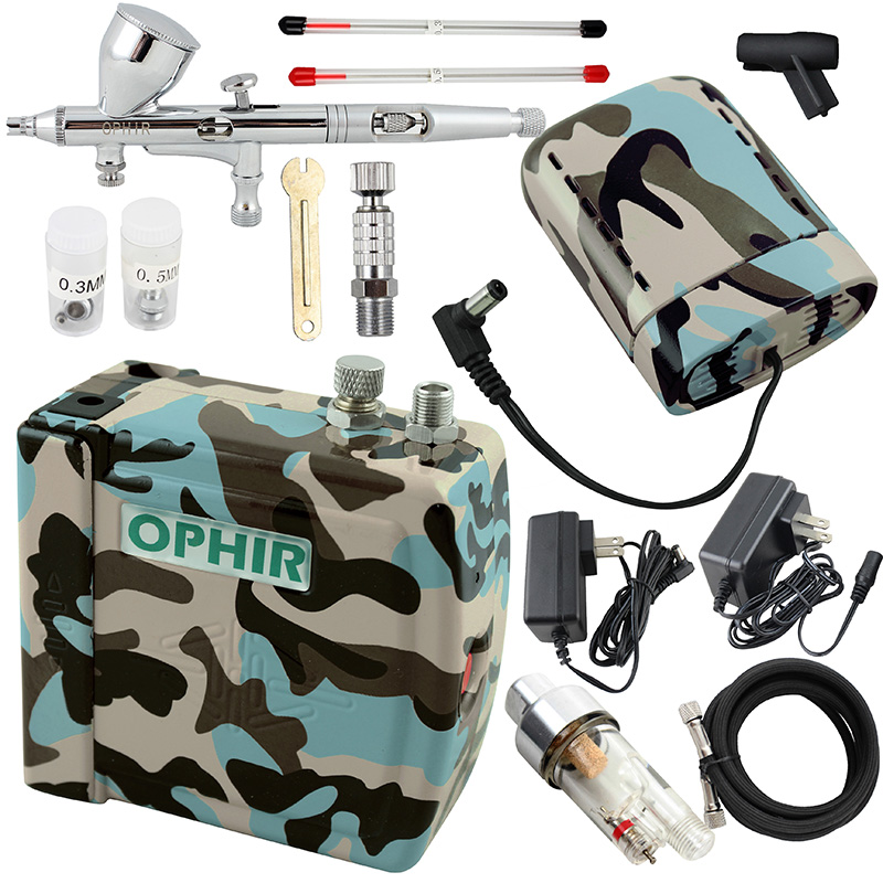 купить OPHIR PRO Airbrush Kit with Air Compressor & Battery Dual Action Airbrush Spray Gun for Model Hobby Nail Art Makeup Body Paint онлайн