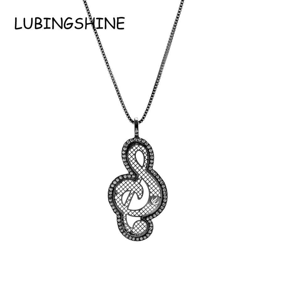 LUBINGSHINE Trendy Musical Notes Design Crystal Sweater Pendant Necklaces For Women Long Statement Necklaces Collier Jewelry