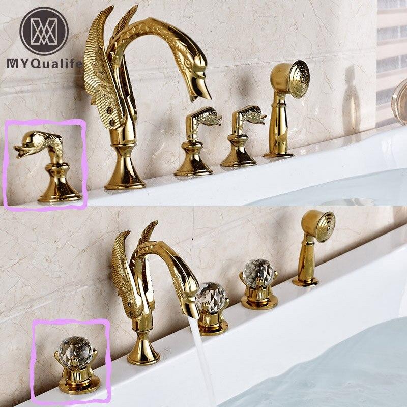 Golden Swan Style Brass Golden Bathtub Tub Faucet Deck