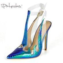 Купить с кэшбэком Pink Palms Brand Shoes Women Sandals Trend PVC Sandals Transparent Slingback in Women's Pumps High Heels Pointed Toe Shoes