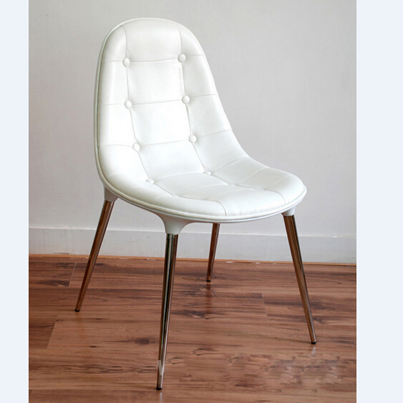 White Pu Leather Side Chair Living Room Steel Legs Dining Chair
