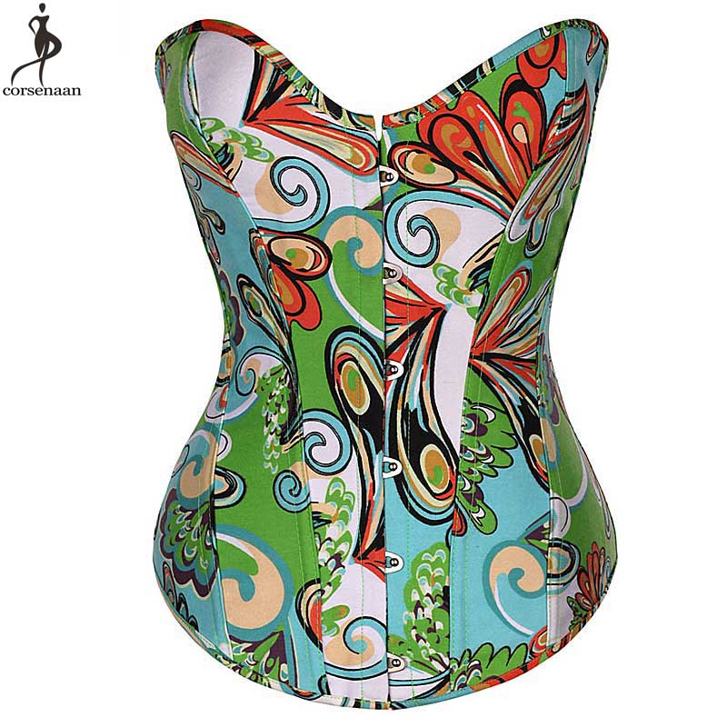 Big Flower Printing   Corset   Over Bust   Corsets   Front Busk Korset Fish Boned   Bustier   Stock Clearance Women Gorset Clothes Corselet