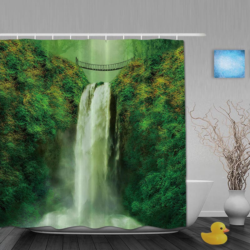 Superb Natural Landscape Bathroom Shower Curtains Spring Waterfall Shower Curtain  Waterproof Polyester Fabric Bathroom Curtain Hooks(