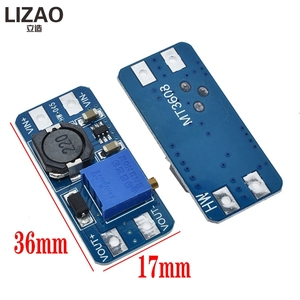 Регулируемый Модуль повышения LIZAO MT3608, 2 А, Повышающий Модуль пластины с MICRO USB 2 В-24 В до 5 В 9 в 12 В 28 в