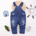 Spring Children's Clothing Baby Girls Boys Denim Pants Kids Long Trousers Boy Overalls Pants Pocket Jumpsuit 2-7 Y Free Shipping