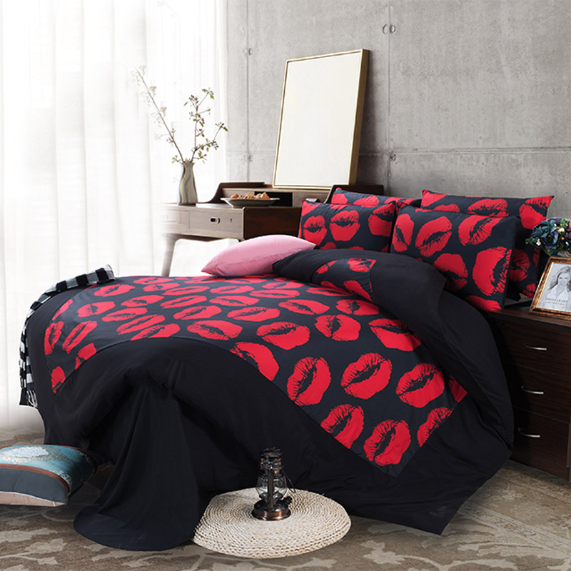Sexy Red Lips Bedding Sets Twin Queen King Size Duvet Cover Pillowcase Bed  Sheets Men Home Textile Sets For Single Double Bed In Bedding Sets From  Home ...