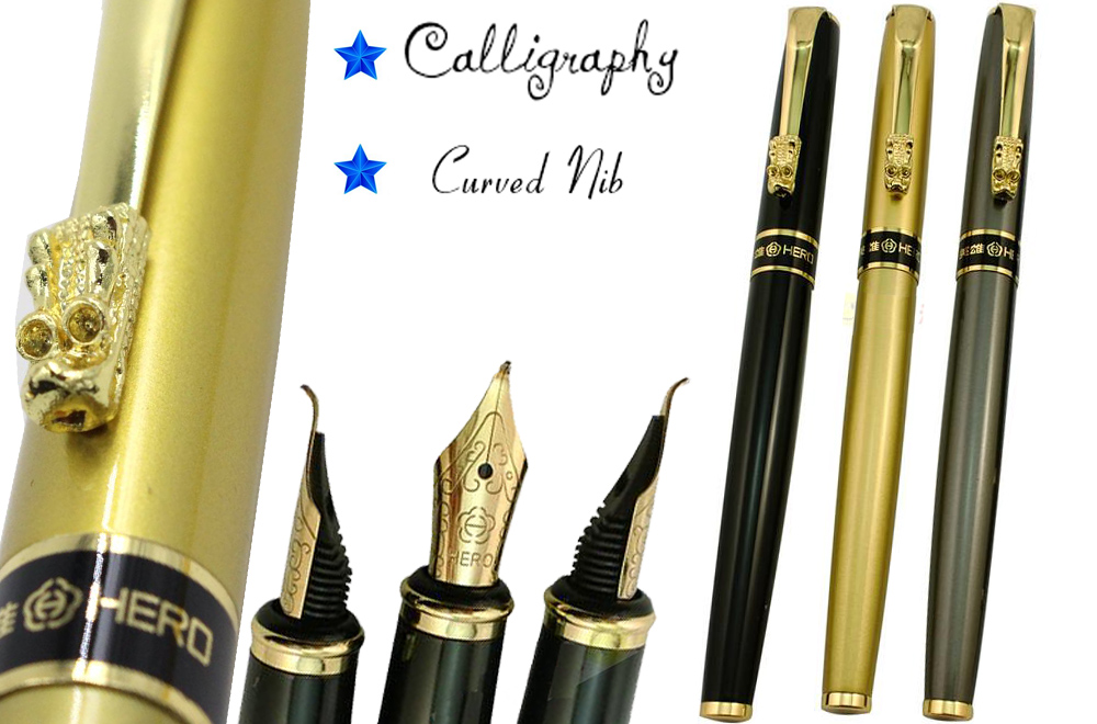 Curved Nib Calligraphy pen HERO 1508 Dragon Clip art pens   Free  Shipping fountain pen curved nib or straight nib to choose hero 6055 office and school calligraphy art pens free shipping