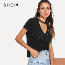 dfb8b989b5ac SHEIN Black Pearl Beading Choker Neck Short Sleeve V Collar T-shirt Summer  Women Weekend Casual Tee Top