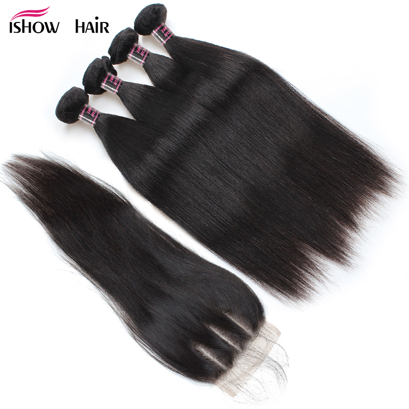 Ishow Malaysian Straight Hair Human Hair Bundles with Closure 4 Bundles With Closure Natural Color Non Remy Hair Extension