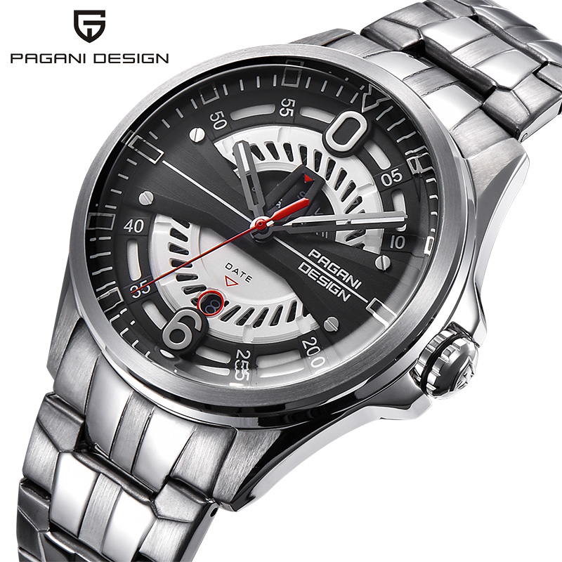 PAGANI Top Brand Luxury New Design Hollow Dial Fashion Quartz Wristwatch Men Silver Stainless Steel Clock Male Relogio Masculino ysdx 398 fashion stainless steel self stirring mug black silver 2 x aaa