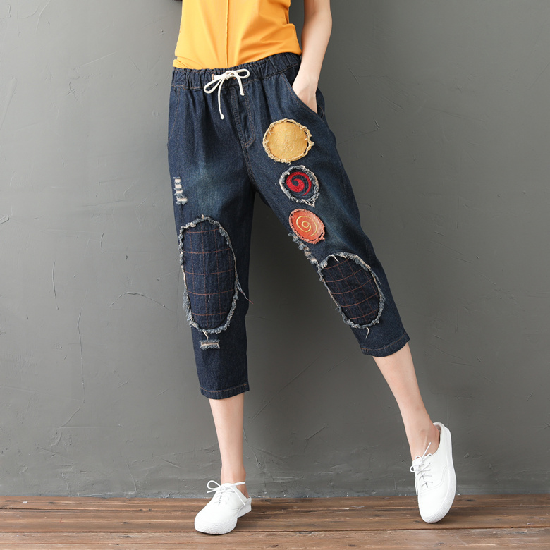 2d2a7bbb2b70 2018 Summer Artistic Denim High Waist Pants Ethnic Style 3 4 Pants Women  Vintage Elastic Waist Ripped Casual Ladies Breeches-in Pants   Capris from  Women s ...