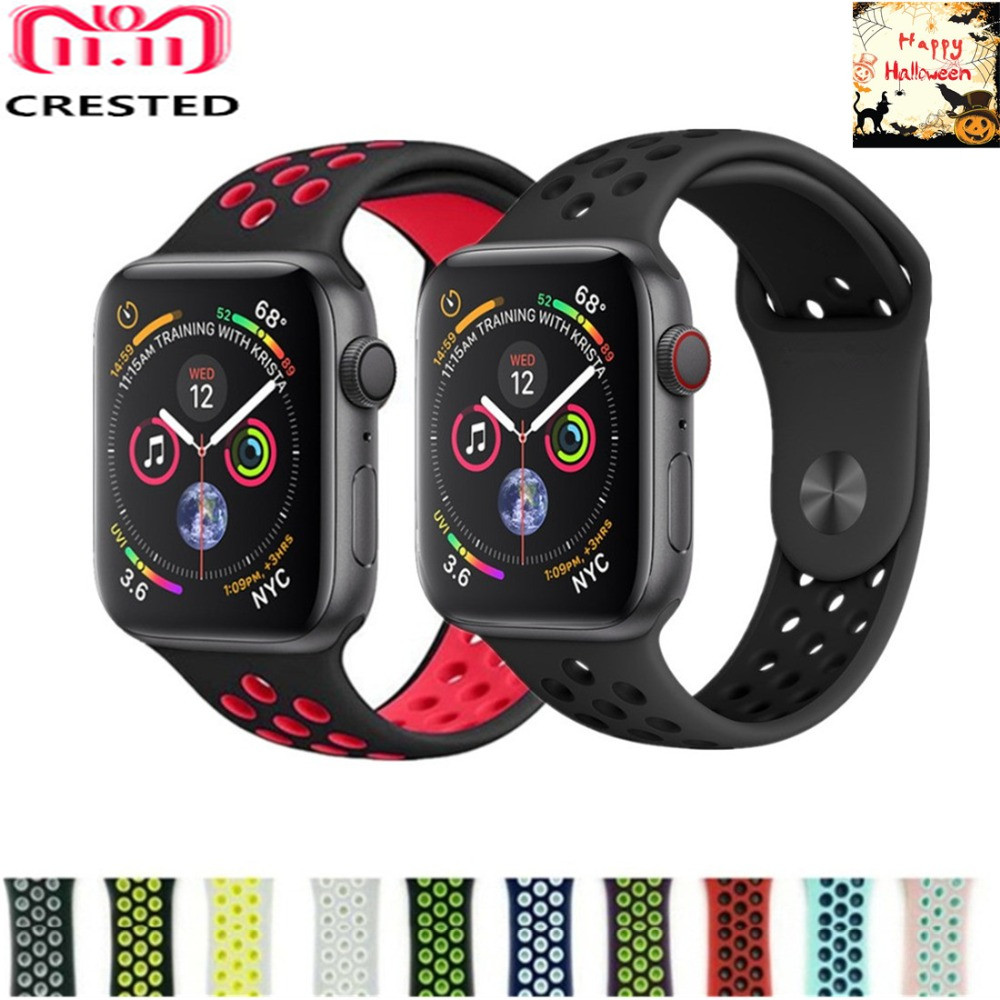 CRESTED silicone Sport strap For Apple Watch band 4 44mm/40mm iwatch series 3/2/1 42mm 38mm wristband bracelet nike belt correa 20 colors sport band for apple watch band 44mm 40mm 38mm 42mm replacement watch strap for iwatch bands series 4 3 2 1