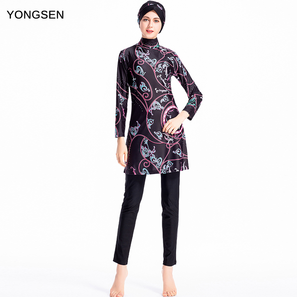 YONGSEN Plus Size Burkinis Islamic Muslim Swimwear Women Girls Modest Hijab Swimsuit Islamic Women Muslim With Swim HatYONGSEN Plus Size Burkinis Islamic Muslim Swimwear Women Girls Modest Hijab Swimsuit Islamic Women Muslim With Swim Hat
