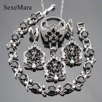Preto do casamento Zircon Conjuntos de Jóias Para As Mulheres Colar de Pingente de Prata 925 Traje Anéis Brincos Pulseiras Set Jóias Caixa de Presente
