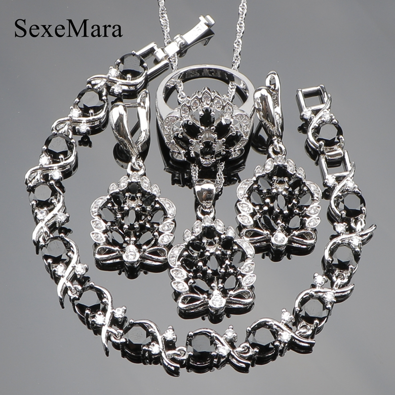 Queen Valentine s day Black Cubic Zirconia 925 Sterling Silver Jewelry Sets For Women Earrings Pendant