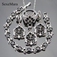 Black Sapphire White Topaz 925 Sterling Silver Jewelry Sets Earrings Pendant Necklace Rings Bracelet For Women