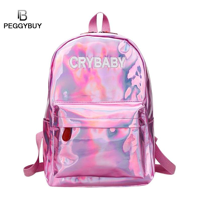 Mini Travel Bags Laser Backpack Women Girls Cry Baby Mochila PU Leather Holographic Backpack Back to School Teenager School Bags women back pack mochila genuine leather school bags for teenager girls unisex casual travel luggage packing backpack escolar