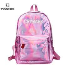 6fbf1d003731 Мини-дорожные сумки лазерный рюкзак для женщин девочек Cry Baby Mochila PU  кожаный голографический рюкзак обратно в школу подрос.