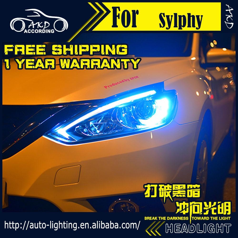 AKD Car Styling Head Lamp for Nissan Sylphy Headlights 2016 Sentra Almera LED Headlight D2H Hid Option Angel Eye Bi Xenon Beam купить бампер nissan almera n16