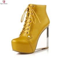 Original Intention Stylish Women Ankle Boots Round Toe Strange Style Heels Boots Black Yellow Fushcia Shoes