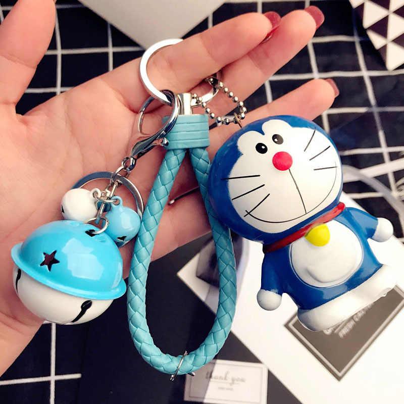Dos desenhos animados Doraemon Gato Boneca de Brinquedo de Corda do Sino de Couro Crianças Princesa Chaveiro Fluffy Rabbit Fur Pom Meninas Presente de Aniversário