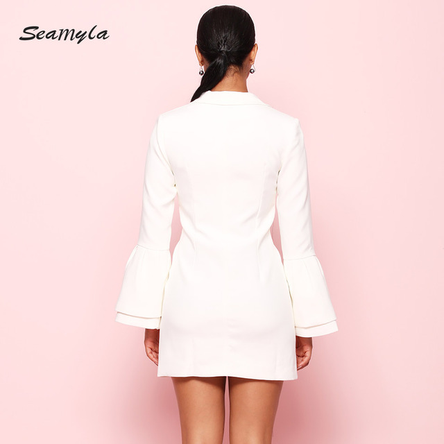 New White Black Notched Slim Blazers High Quality Flare Sleeve Single Breasted Women Jackets Summer Casual Out Wear