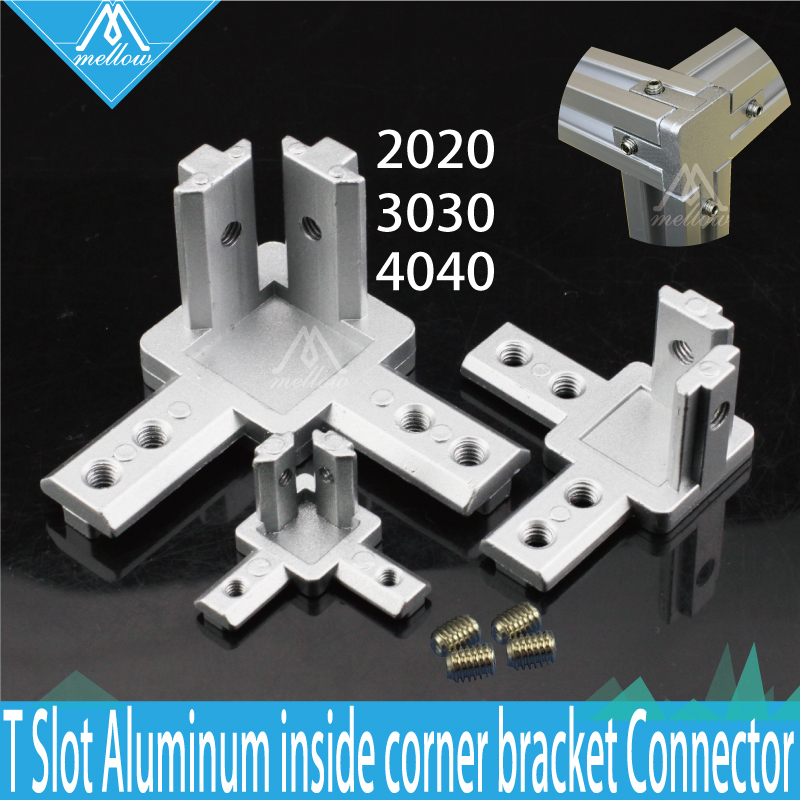 4pcs T Slot L-Shape 2020 3030 4040 Aluminum Profile Interior 3-way inside Corner Brackets Connector for Alu-profile 3D printer image